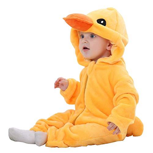 Unisexo Bebé Pelele Recién Nacido Franela Monos Traje Animales Disfraz Infantil Mameluco Invierno Ropa Niños Niñas Pijama (Duck,70cm)