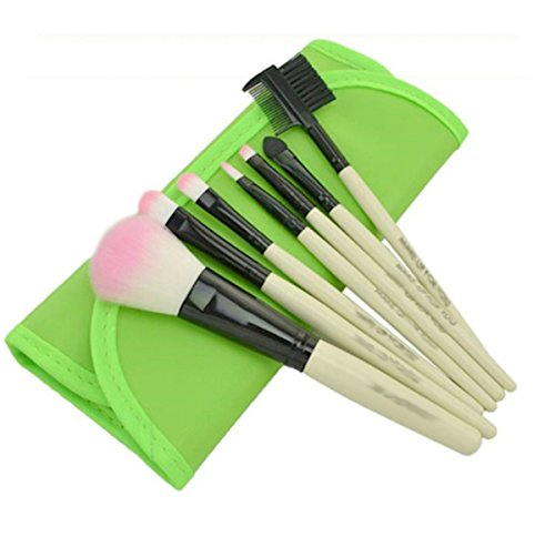 Kleine make-up kwastenset in groene rol tas, 7-delig, make-up, ogen, borstels, oogschaduw, cosmetics groen