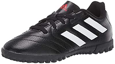 adidas Boy's Goletto VII Turf Soccer Shoe, Black/White/Red, 13 Little Kid