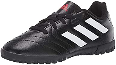 adidas Boy's Goletto VII Turf Soccer Shoe, Black/White/Red, 1 Little Kid