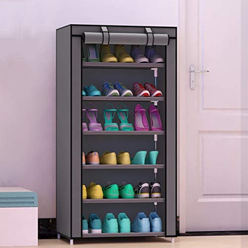 XBCDX Zapatero de 6 Niveles para Guardar Zapatos Que Ahorra Espacio para 24 Pares de Zapatos, estantes apilables en Torre (Color: Gris)