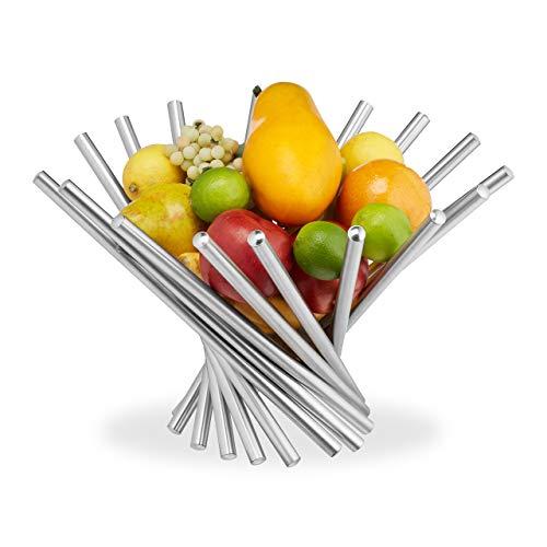 Relaxdays Obstschale modern, Edelstahl Obstkorb gefächert, Design Obsthalter, Obst, Gemüse, Brot, HxD: 26x38 cm, silber