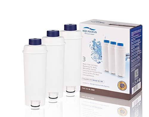Aqualogis Filtros de Agua para Cafetera DeLonghi Filtro DLSC002 con Ablandador de Carbón Activado, Homegoo Filtro Compatible con De'Longhi ECAM, Esam, Etam, BCO, EC. (Paquete de 3)