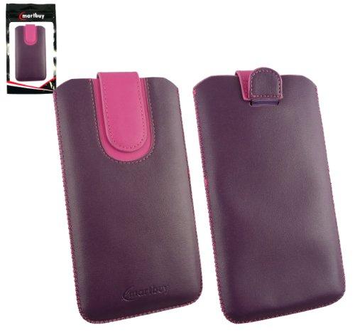 Emartbuy® Lila / Hot Rosa Premium PU Leder Tasche Hülle Schutzhülle Hülle Cover ( Size 5XL ) Mit Ausziehhilfe geeignet für UMi Hammer S Smartphone 5.5 Inch