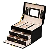 ADEL DREAM Joyero con 3 niveles con 2 cajones y espejo, para anillos, pendientes, collares y pulseras (negro)