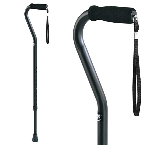 Carex Offset Designer Walking Cane - Height Adjustable Cane with Wrist Strap - Latex Free Soft Cushion Handle, Supports 250lbs, Black