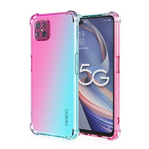 HAOTIAN Hülle für Oppo Reno 4Z 5G(Reno4 Z 5G), Farbverlauf-TPU Handyhülle, [Vier Ecken Verstärken] Weiche Transparent Silikon Soft TPU Hülle Schock-Absorption Durchsichtig Schutzhülle (Pink/Grün)