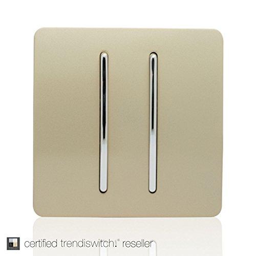 Trendi Switch Taktiler 2-fach-2-Wege-Lichtschalter, Wippschalter, 10A, Gold, glänzend, modernes Design, ART-SS4GO