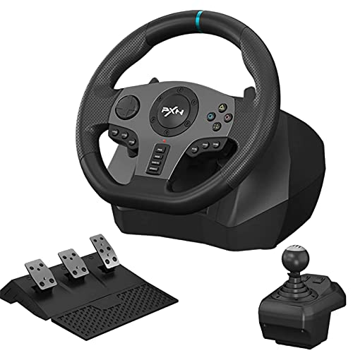 PXN V9 Simulate Racing Steering Wheel with Clutch, Shift Lever Pedals, Manual Gear Operation 270 900 Degree Racing Drive Controller, Compatible with PC,PS3,PS4,Xbox One,Xbox 360,for Nintendo Switch