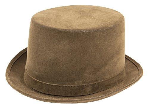 Das Kostümland Zylinder im Velour Leder Look - Braun - Toller Hut passend zum Thema Barock Mittelalter Steampunk