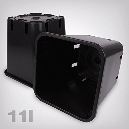 GrowPRO Maceta de plástico cuadrado/negro, 11 litros