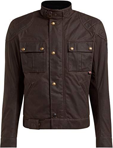 Belstaff Chaqueta de motorista con protectores Chaqueta de moto Brooklands 2.0 Chaqueta textil para hombre, Chopper/Cruiser, para todo el año, algodón marrón L