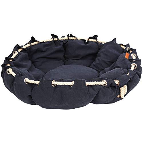 Warmako 51DN Nautical Hundebett Kokolauncher dunkelblau ganz nach den individuellen Schlafbedürfnissen des Hundes, eher hoch geschlossen oder offen mit guter Rundumsicht offen ca ø 80 cm