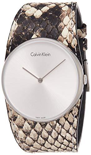 Calvin Klein Damen Analog Quarz Uhr mit Leder Armband K5V231L6