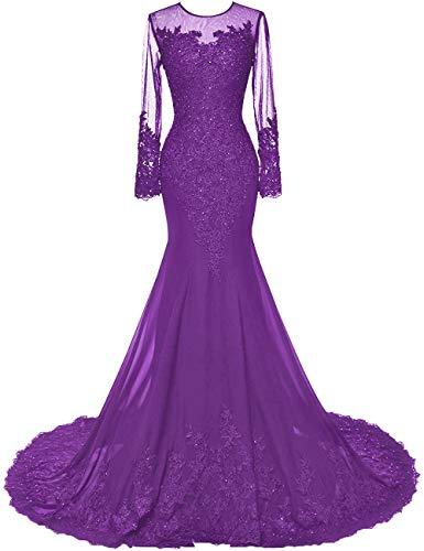 HUINI Damen Abendkleid Elegant Lang Hochzeitskleid Standesamtliche Brautkleid Schlicht Ballkleid Maxikleid mit Ärmel Chiffon Violett 34