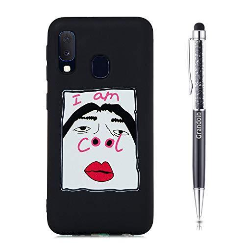 Grandoin für Samsung Galaxy A20E Hülle, Süßes Muster Schwarz Ultra Dünn Stylische Weiche TPU Silikon Schutz Handy Hülle Handytasche Etui Schale Schutzhülle Case Cover Tasche (Cool 1)