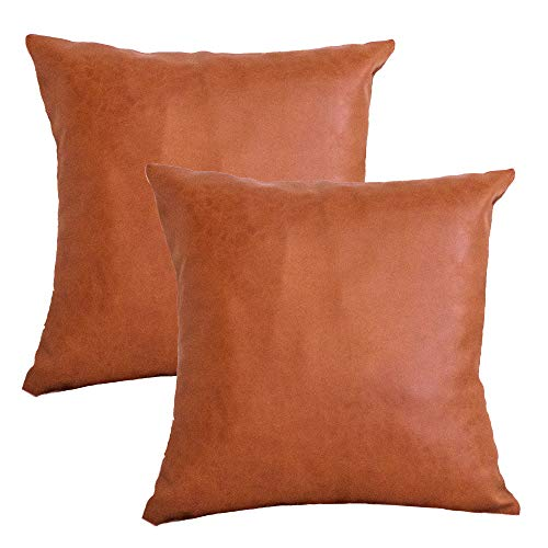 Welkerson Faux Leather Pillows - 18x18 Set of 2 - Decorative Luxury Vegan Faux Leather Throw Pillow Covers - Couch, Sofa, Bed, Living Room - Boho, Farmhouse Home Decor (Cozy Cognac)