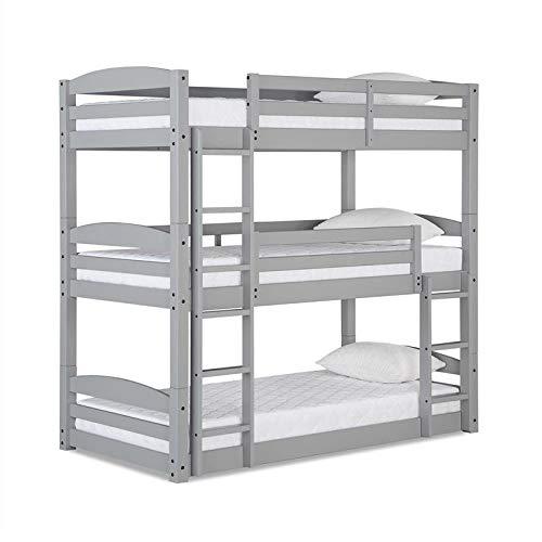 Dorel Living Sierra Triple Floor Wooden Bunk Bed in Gray - Set Up As Triple Bunk Bed/Bunk Bed/Daybed