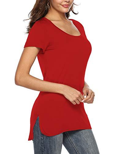 Beluring Oberteil Damen Sommer Elegante Kurzarmshirts Bluse Tunika Frühling T-Shirt Tops Rot Gr.42-44