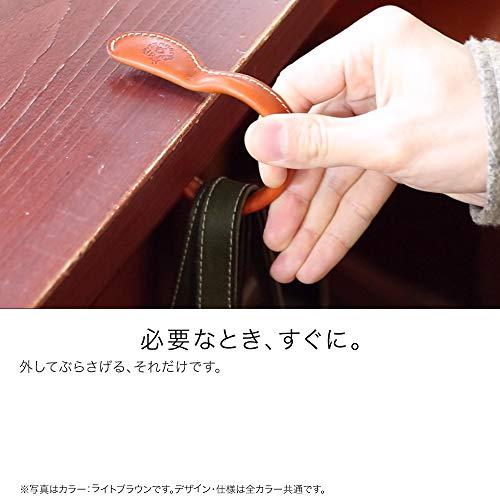 【HUKURO】ハンガーブレスレットバッグハンガー栃木レザー本革耐荷重6kg日本製(Mサイズ,ブラック)