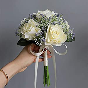 Artificial and Dried Flower Artificial Roses Babysbreath Flowers Bouquet Silk Gypsophila Fake Flowers Wedding Home Table Vase Decoration Faux Flores