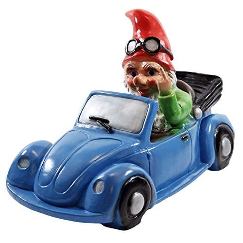 RAKSO Deko Figur Zwerg H 23 cm Gartenzwerg im Auto mit Stinkefinger Gartenfigur aus Kunststoff