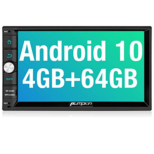 PUMPKIN Android 10 Double Din Car Stereo with 4GB RAM+64GB, GPS and WiFi, Android Auto, Support Fastboot, Backup Camera, USB SD, 7 Inch Touch Screen (Renewed)