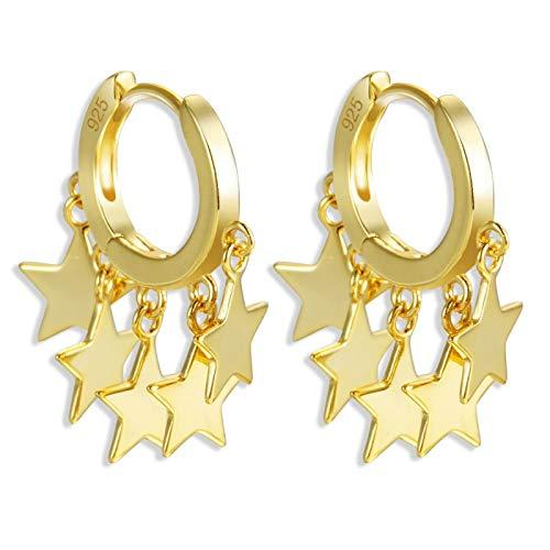 N/A 925 Pendientes de botón de Plata esterlina Estrella Cruz Pendientes Colgantes de Estrella Joyas con Abalorios Gold1