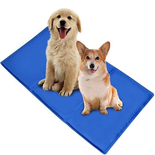 Ownpets Kühlmatte Hunde Katzen 50x90cm Kühlkissen Kühl Hundedecke 100% Sicher, Ungiftig,Kaltgelpad für Katzen und Hunde Selbstkühlende Matte Blau