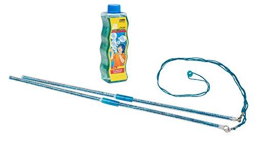 Idena 40022 - Mega Seifenblasen Set mit zwei Stäben und Schnur, inklusive Seifenblasenlösung 354 ml, Seifenblasenkunst ideal für den Sommer, im Garten und auf Partys
