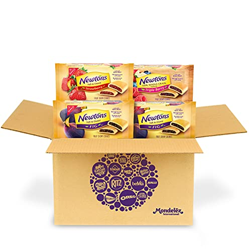 Newtons Soft & Chewy Cookies Variety Pack, Newtons Fig Cookies, Strawberry Cookies & 100% Whole Grain Wheat Triple Berry Cookies, 4 Packs
