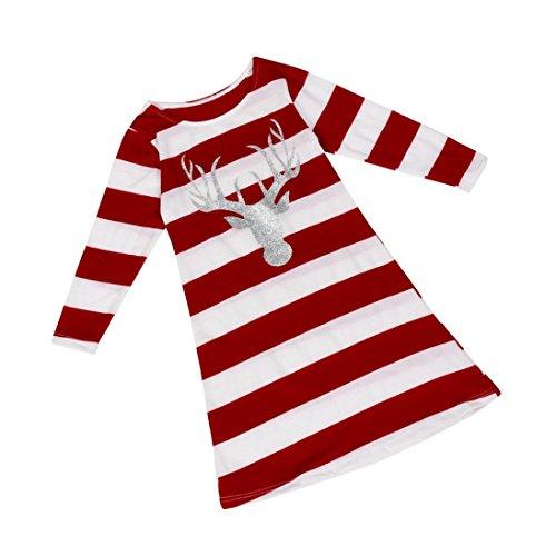 Robe de Noël de Filles, Internet Bébé Manche Longue Robe de Princesse à Rayures de Santa Col Rond Robe (Rouge, 6 Ans)