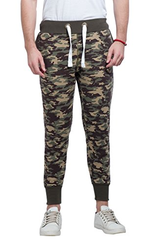 Alan Jones Camouflage Men's Joggers Track Pants (JOG18-CAM02-OLIVE-3XL_XXX-Large_Olive)