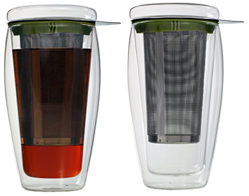 AKTION: 2er-Set 400ml doppelwandige Teegläser mit Filter und Glasdeckel (4go Thermoglas mit Schwebe-Effekt), ideal fürs Büro, unterwegs oder als Geschenk,\