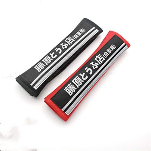 HRXS 2 uds.Cubierta de cinturón de Seguridad para hombreras de Coche para Trajes de Estilo de Coche Initial D Fujiwara,Negro