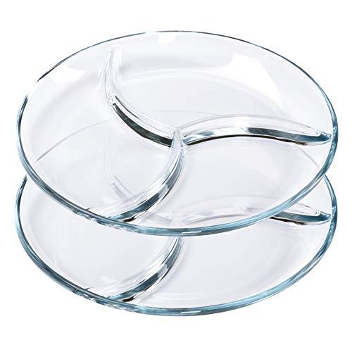 2 Fondueteller/Servierteller, Ø 25 cm Dessertteller Glas