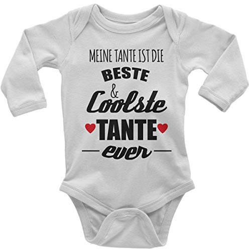 Mikalino Babybody mit Spruch für Jungen Mädchen Unisex Langarm Meine Tante ist die Beste und coolste Tante | handbedruckt in Deutschland | Handmade with Love, Farbe:Weiss, Grösse:62