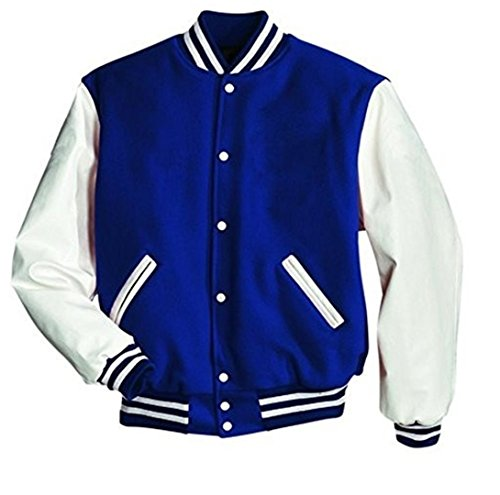 Windhound Original College Jacke blau mit weißen Echtleder Ärmel M