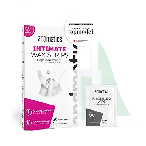 andmetics INTIMATE wax strips: Kaltwachs Enthaarung Streifen für den Intimbereich,28 Kaltwachs-Streifen / 4 Öl-Tücher