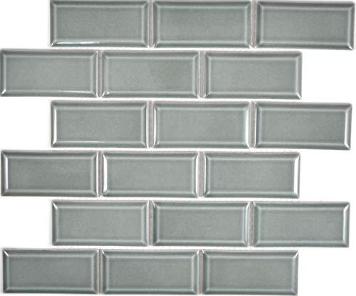 Metro Subway mozaïek tegel keramiek grijs groen tegelspiegel keuken muur MOS26M-0218_f | 10 mozaïekmatten