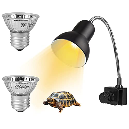 Lámpara de Calor para Reptiles, KEEHOM Lámpara de Calor para Tortugas Terrario Acuario Reptiles con Bombillas de 50 W + 25 W, Lámpara de Punto de Calor Giratoria UVA + UVB de 360 °