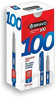علبة اقلام برافو 100 من ساسكو، 25 قلم - أزرق