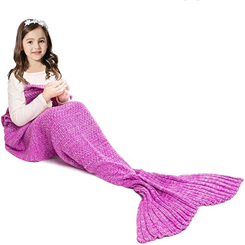 JR.WHITE Mermaid Tail Blanket for Kids, Hand Crochet Snuggle Mermaid,All Seasons Seatail Sleeping Bag Blanket (Pastel Pink)
