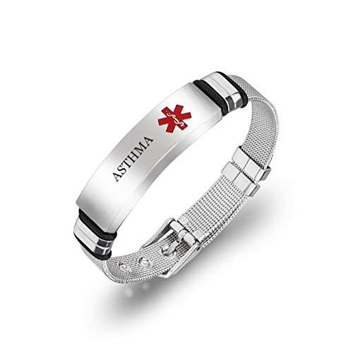 NineJewelry NJ Asthma Medcial Alert Bracelet - Stainless Steel Mesh Belt Chain Medic Emergency ID Bracelets Asthma Medical Identification Jewelry for Men Women Adjustable