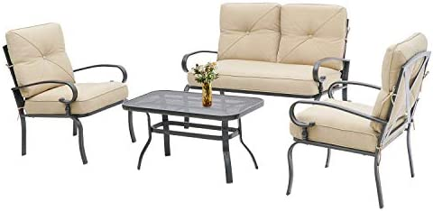 Incbruce 4Pcs Outdoor Indoor Patio Furniture Conversation Set (Loveseat, Coffee Table, 2 Chairs) - Steel Frame Patio Seating Set with Peacock Blue Cushions