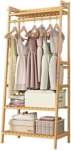 Garderobenständer Kleiderständer Bambus Kleiderstangestab mit Schuhregal Garderobe mit 3 Ablagen Haken Kippsicherung 164x70x42cm
