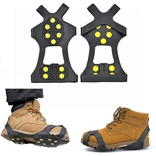 Belleashy Crampons 10 Stud Universal Ice Antideslizantes Botas de Nieve Picos Puños de Invierno Antideslizantes Zapatillas de Invierno Antideslizantes Puños de Nieve Crampones (Talla M; Color: Negro)