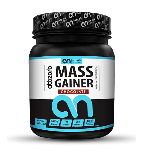 Abbzorb Nutrition Mass Gainer Vitamins(B,C,D) Minerals (Calcium, Iron, Zinc)   with Digestive Enzymes (Chocolate, 1 Kg)