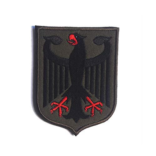 6,5 * 8,7 cm Bundesadler Gestickt Patch Deutschland Militär Cosplay Klettabzeichen Rucksack Mantel Flicken Bestickter (Dunkelgrün)