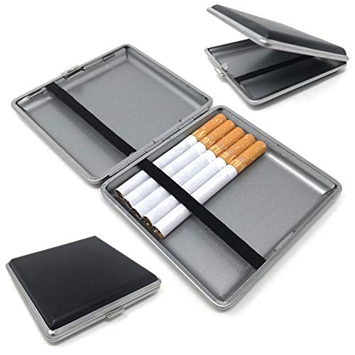 Starlet24® Zigarettenetui schwarz in Leder-Optik für 20 Filterzigaretten Zigarettenbox Etui Box kompakt passend für Hand-, Hosen- und Hemdtaschen